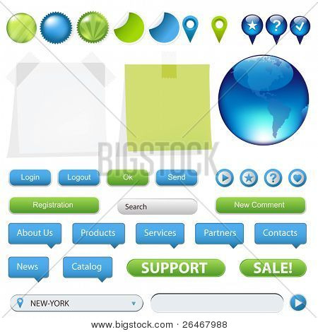 Collection Of Website And GPS Navigation Elements For Your Web Projects, Isolated On White Background, Vector Illustration