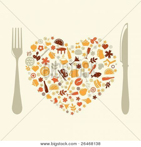 Restaurant Design In Form Of Heart, Vector Illustration