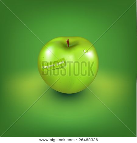 Green Apple With Organic Label, Vector Illustration