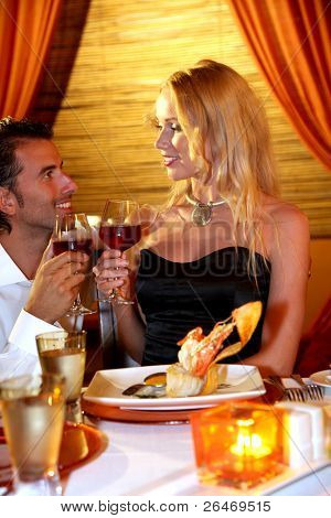 Couple dining in a fancy restaurant