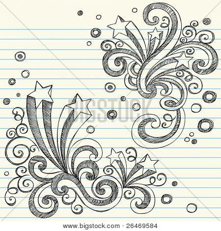 Back Hand Drawn a destellos de escuela con remolinos y burbujas - Notebook incompletos garabatos Vector ilust