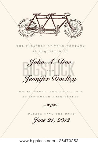 Vector Vintage Bicycle Wedding Invitation. All pieces are separate, and easy to edit.