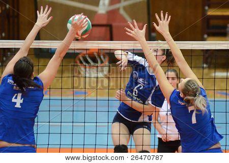 KAPOSVAR, HUNGARY - OCTOBER 23: Kamilla Gyorbiro (6) in action at a Hungarian NB I. League woman volleyball game Kaposvar vs Bekescsaba, October 23, 2011 in Kaposvar, Hungary.