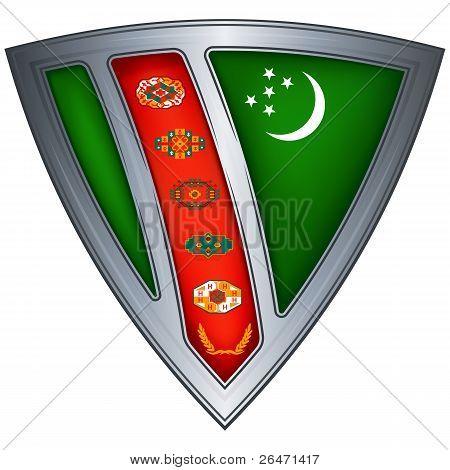 Steel shield with flag Turkmenistan