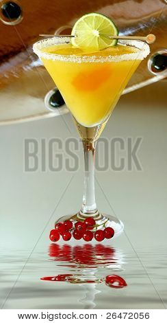Summer recreational drink  - with of the mango with red currants