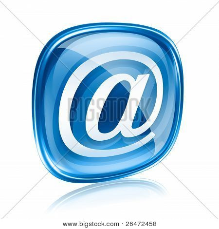 Email Icon Blue Glass, Isolated On White Background.