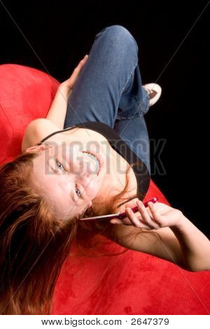 Woman Talking On Phone Upside Down