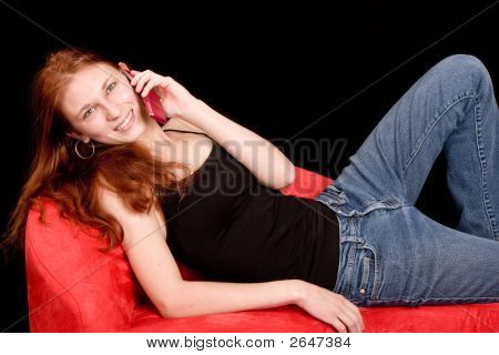 Redhead On Cellphone