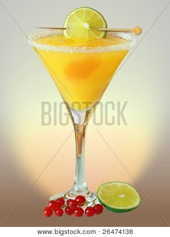 Summer alcoholic recreational drink with cherry and lemon