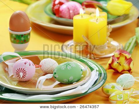 Easter table setting - eggs and tulips