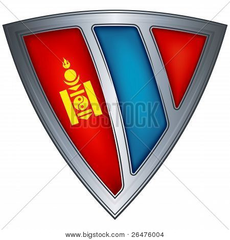 Steel shield with flag Mongolia