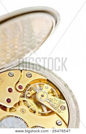 Old watch with open other side closeup. (clockwork)