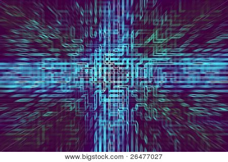 Color abstract cybernetic effect