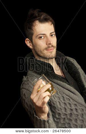 Man Holding A Glass