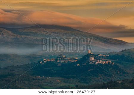 Beautiful view of the typical Tuscan landscape at sunset