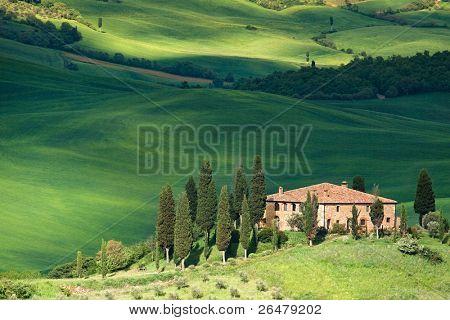 Vista panorâmica da paisagem típica de Tuscany