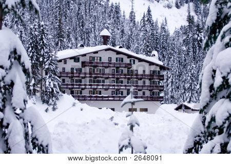 Hotel In Snow Horizontal
