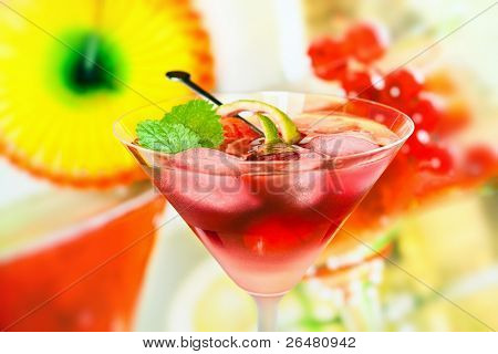 Summer alcoholic recreational drink with mint and lemon