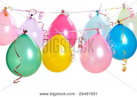 Hanging balloons isolated on white.