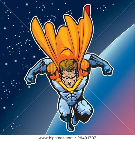 Generic superhero figure flying above a planet.
