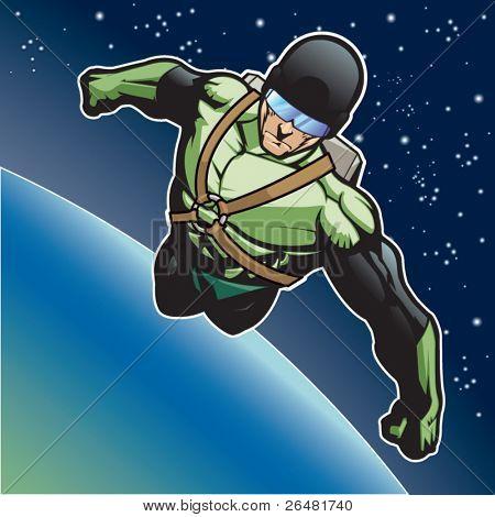 Super herói com foguete acima de um planeta.