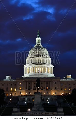 Washington DC - US Capitol building in dusk with blue cloudy sky