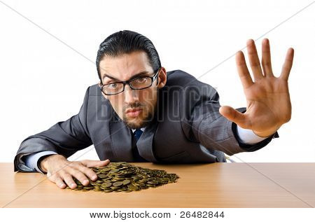 Businessman with golden coins