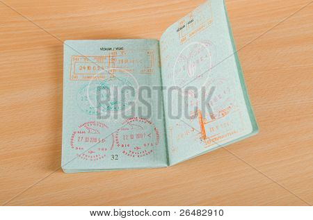 Passport with airport stamps