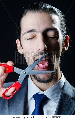 Cutting tongue with scissors