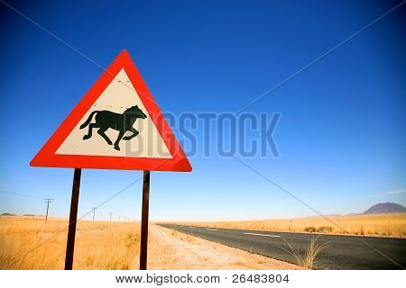 Danger Horses Road Sign