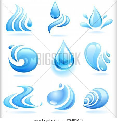 Splash of Fresh Blue Water Drops