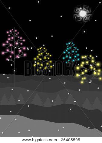Vector, árbol colorido con nieve copos sobre fondo de noche de luna llena para Navidad, año nuevo & othe