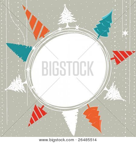 greeting card with colorful abstract Xmas tree with copy space on gray dotted background for Christmas & other occasions.