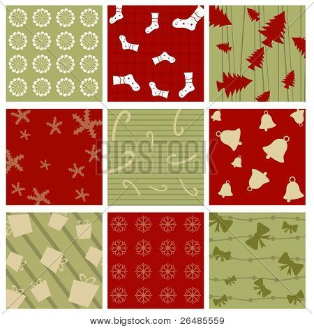 Seamless Christmas Pattern  with many elements like gifts,candy cane,sock,tree,bow,floral for Christmas & other occasions.
