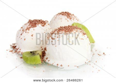 delicious vanilla ice cream with chocolate and kiwi isolated on white