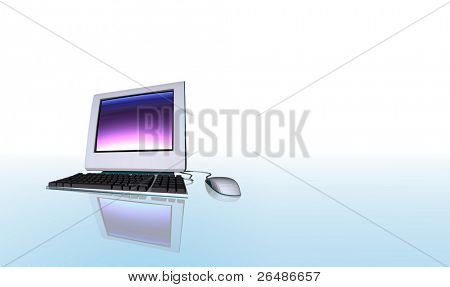 3d render illustration of desktop computer isolated on reflective background