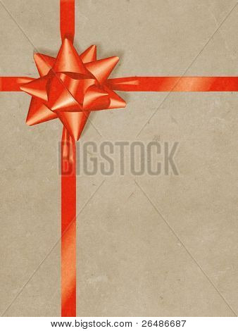 Illustration of gift box wrapping - vintage paper background