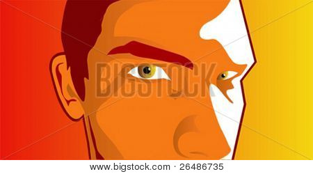 Boy face detail with warm intense look and bright background