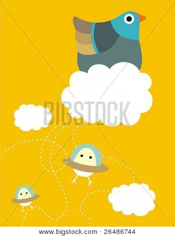 Illustration of hen in a cloud launching flying-saucer eggs