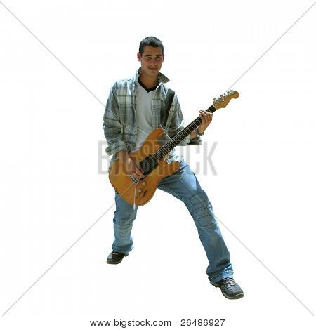 Isolated young handsome boy playing electric guitar - contains clipping path