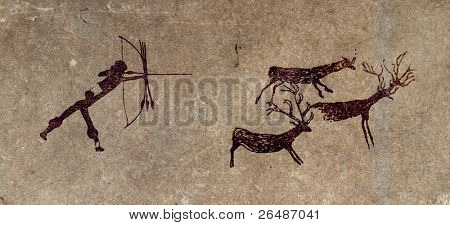 Reproduction of a prehistoric cave painting showing a hunter and deers