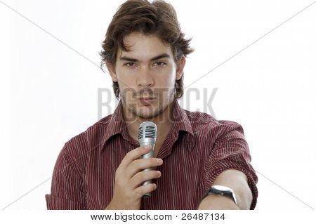Portrait of young friendly Man talking by microphone - isolated