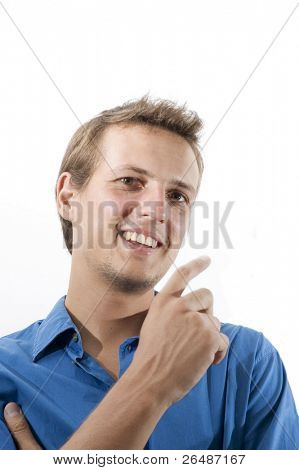 Portrait of young happy handsome caucasian man isolated over white