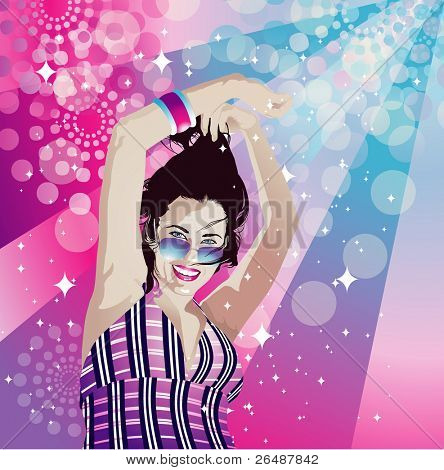 Vector illustration of young happy woman dancing in disco atmosphere
