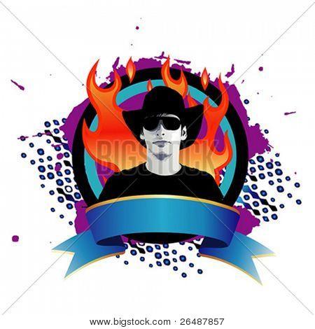 ilustração em vetor de moda jovem sobre indicadores de grunge com chamas