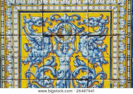Detail of stylish tile ornament in yellow and blue