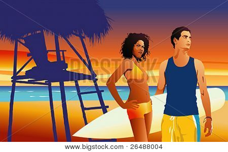 Vector illustration of young couple on tropical beach at sunset