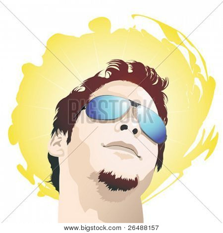 Vector illustration of young trendy man wearing sunglasses
