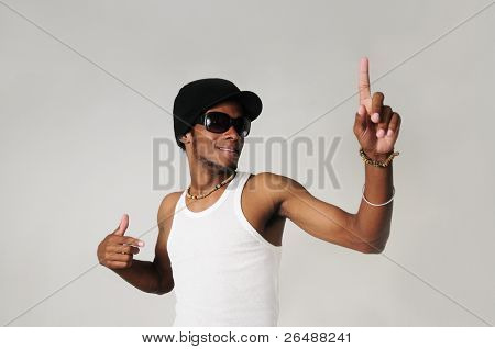 Portrait of young trendy african american man with raised finger