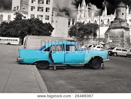 View of classic vintage car parked in the street of old havana, cuba